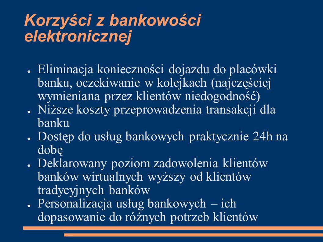 Korzyści z bankowości elektronicznej ● Eliminacja konieczności dojazdu do placówki banku, oczekiwanie w kolejkach (najczęściej wymieniana przez klient
