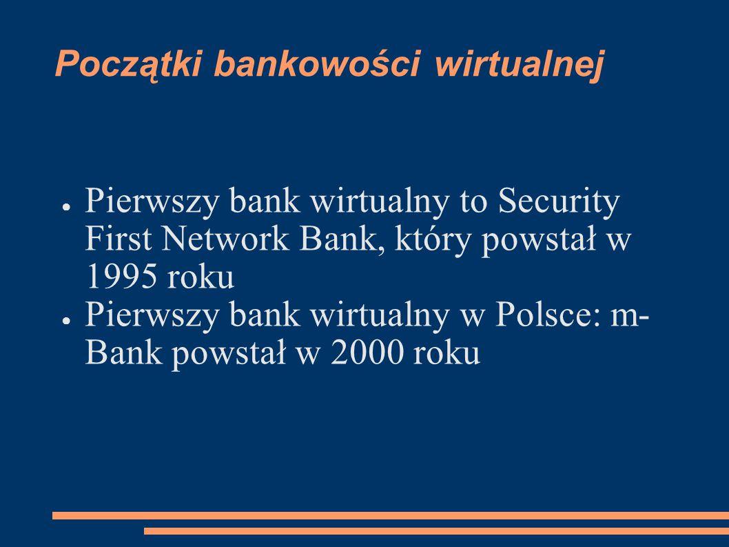 Początki bankowości wirtualnej ● Pierwszy bank wirtualny to Security First Network Bank, który powstał w 1995 roku ● Pierwszy bank wirtualny w Polsce: