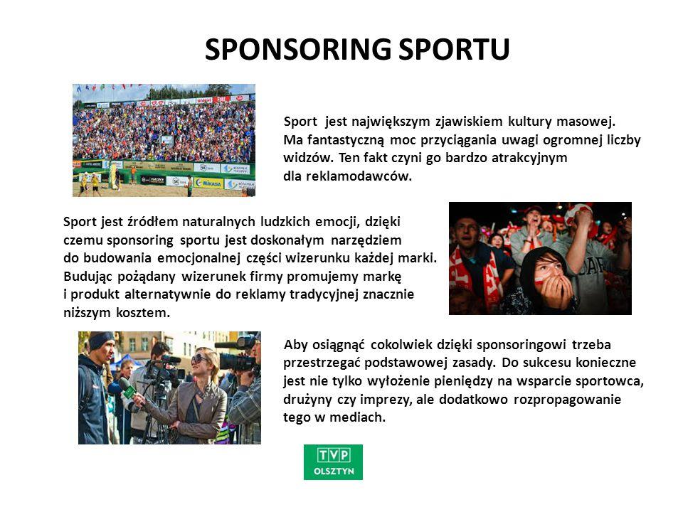 """ZALETY SPONSORINGU TELEWIZYJNEGO Sponsoring jest działaniem prestiżowym i prospołecznym na rzecz odbiorców - dzięki sponsorowi może powstać program czy audycja Sponsoring wpływa na tworzenie pozytywnego wizerunku sponsora - widzowie wyrabiają sobie korzystną opinię o firmach sponsorujących Sponsoring jest jedna z form mecenatu - dzięki sponsorom można przygotowywać relacje z imprez sportowych Sponsoring umacnia świadomość marki sponsora wśród widzów Sponsorowanie jest postrzegane jako """"nieagresywna forma promocji Sponsoring to jedyna forma obecności sponsora w czasie redakcyjnym programu telewizyjnego - informacja o sponsorze ukazuje się poza blokiem reklamowym, czyli w izolacji od innych przekazów reklamowych Sponsoring daje możliwość zaprezentowania nazwy lub marki oraz produktu Sponsoring to forma łączenia biznesu i upodobań widzów."""