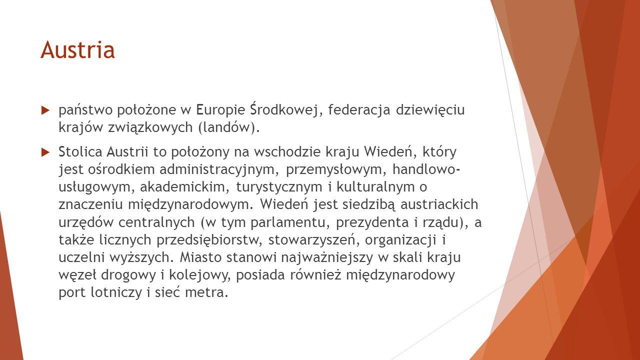  państwo położone w Europie Środkowej, federacja dziewięciu krajów związkowych (landów).