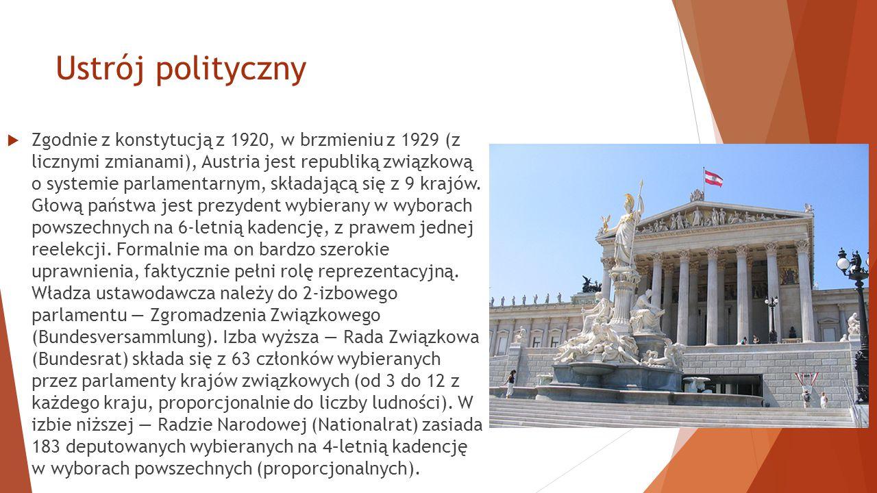 Ustrój polityczny  Zgodnie z konstytucją z 1920, w brzmieniu z 1929 (z licznymi zmianami), Austria jest republiką związkową o systemie parlamentarnym, składającą się z 9 krajów.