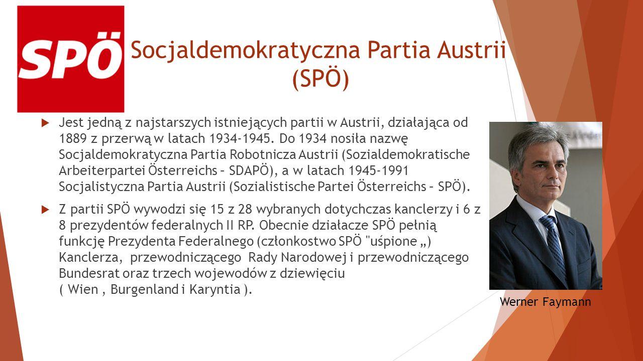 Socjaldemokratyczna Partia Austrii (SPÖ)  Jest jedną z najstarszych istniejących partii w Austrii, działająca od 1889 z przerwą w latach 1934-1945.