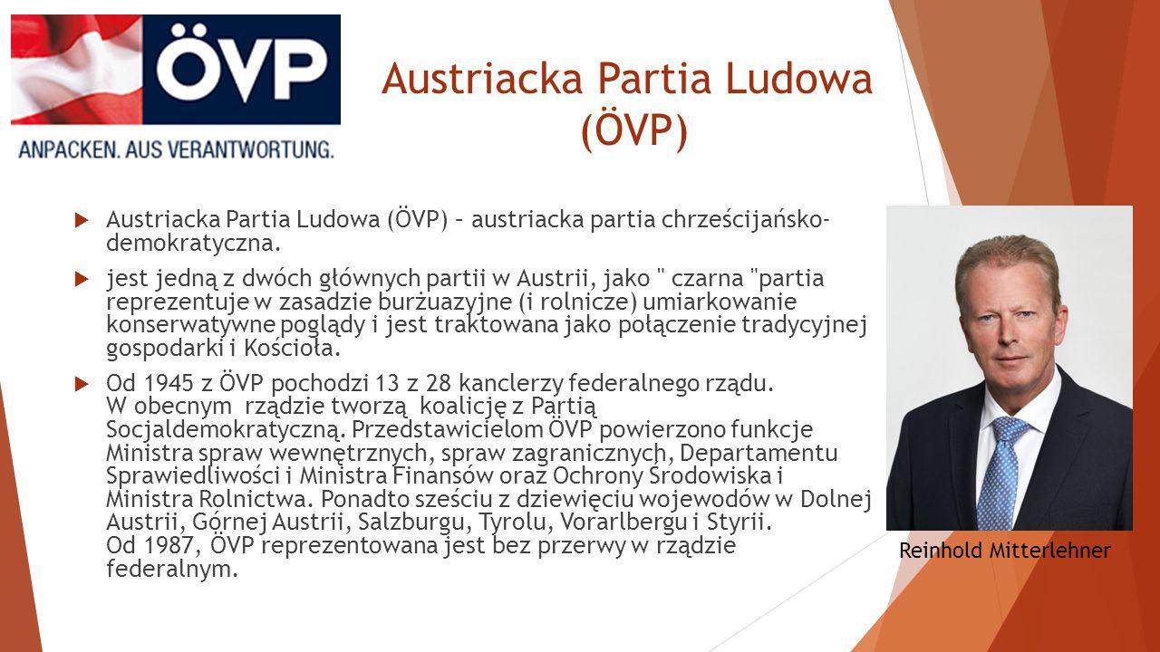 Wolnościowa Partia Austrii (FPÖ)  Jest partią prawicową, reprezentowana we wszystkich 9 rządach wojewódzkich.