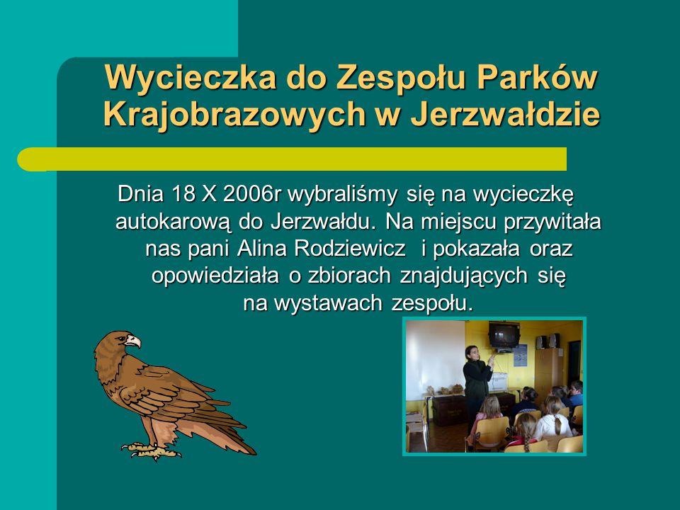 Wycieczka do Zespołu Parków Krajobrazowych w Jerzwałdzie Dnia 18 X 2006r wybraliśmy się na wycieczkę autokarową do Jerzwałdu.
