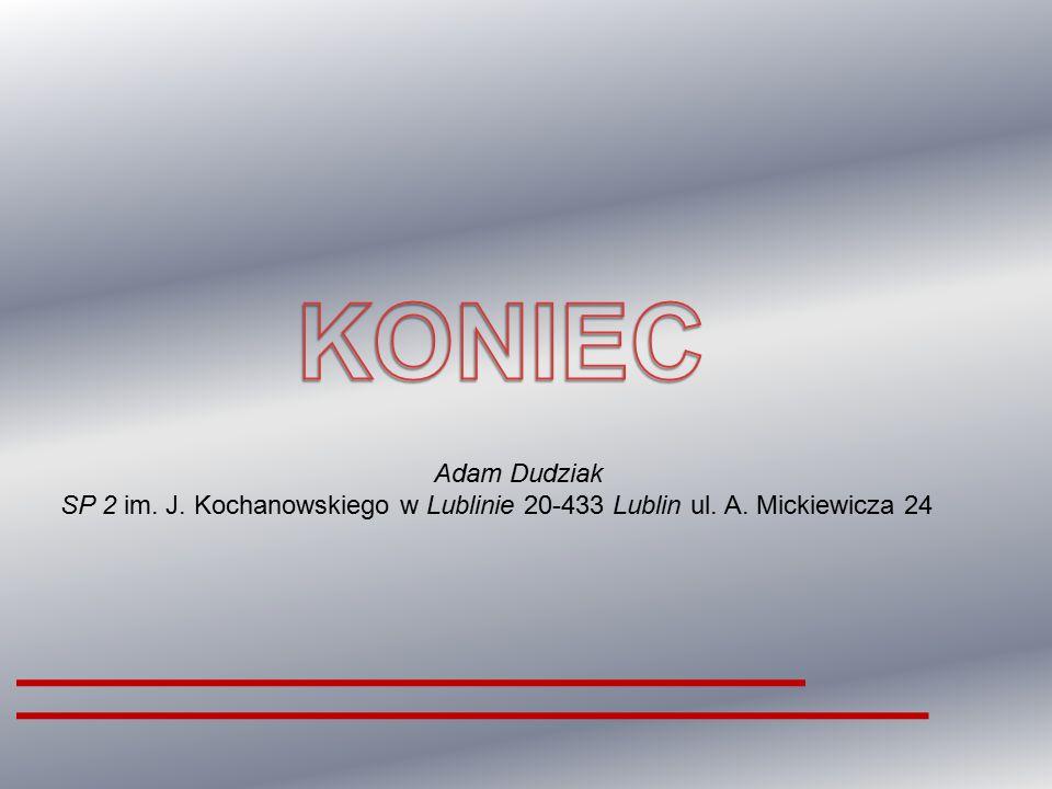 Adam Dudziak SP 2 im. J. Kochanowskiego w Lublinie 20-433 Lublin ul. A. Mickiewicza 24
