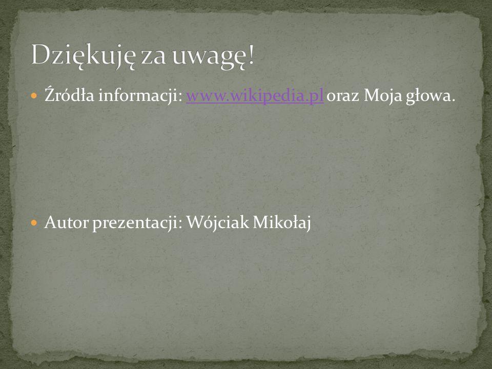 Źródła informacji: www.wikipedia.pl oraz Moja głowa.www.wikipedia.pl Autor prezentacji: Wójciak Mikołaj