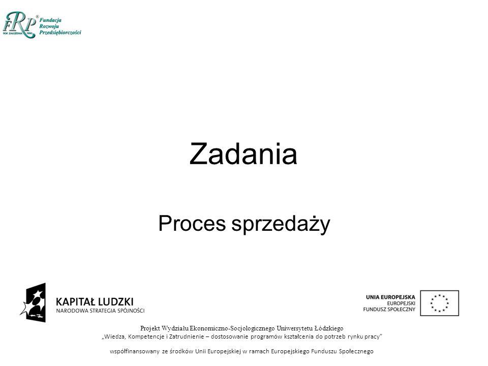 """Projekt Wydziału Ekonomiczno-Socjologicznego Uniwersytetu Łódzkiego """"Wiedza, Kompetencje i Zatrudnienie – dostosowanie programów kształcenia do potrzeb rynku pracy współfinansowany ze środków Unii Europejskiej w ramach Europejskiego Funduszu Społecznego Zadania Proces sprzedaży"""