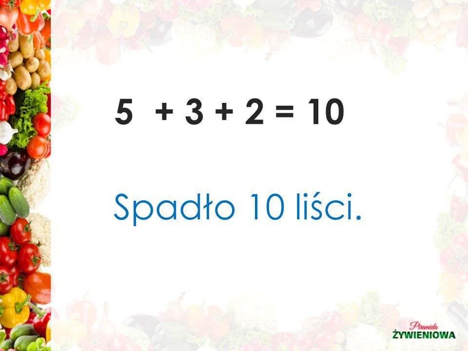 5 + 3 + 2 = 10 Spadło 10 liści.