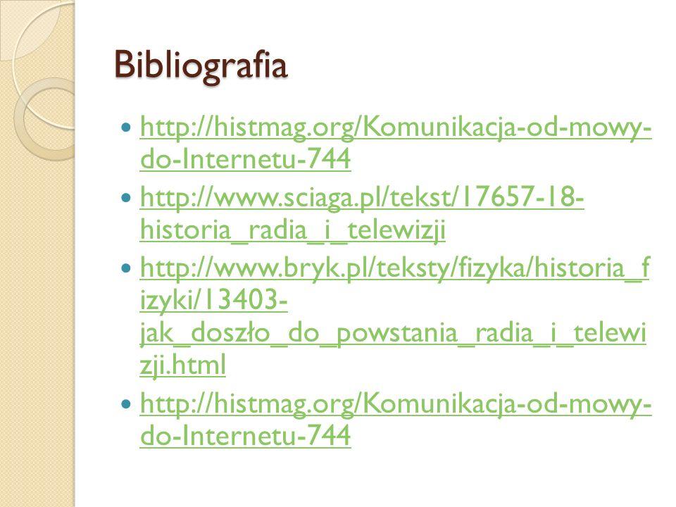 Bibliografia http://histmag.org/Komunikacja-od-mowy- do-Internetu-744 http://histmag.org/Komunikacja-od-mowy- do-Internetu-744 http://www.sciaga.pl/te