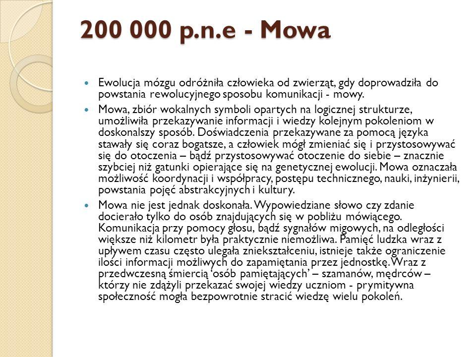 200 000 p.n.e - Mowa Ewolucja mózgu odróżniła człowieka od zwierząt, gdy doprowadziła do powstania rewolucyjnego sposobu komunikacji - mowy. Mowa, zbi