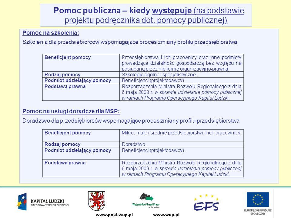 www.wup.plwww.pokl.wup.pl Pomoc publiczna – kiedy występuje (na podstawie projektu podręcznika dot.