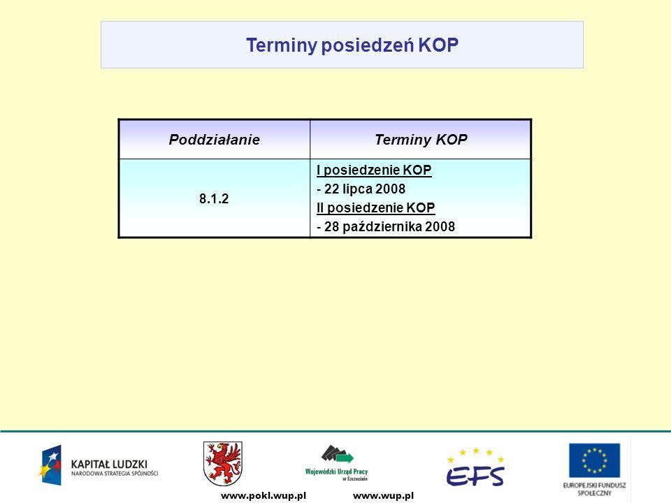 www.wup.plwww.pokl.wup.pl Terminy posiedzeń KOP PoddziałanieTerminy KOP 8.1.2 I posiedzenie KOP - 22 lipca 2008 II posiedzenie KOP - 28 października 2008