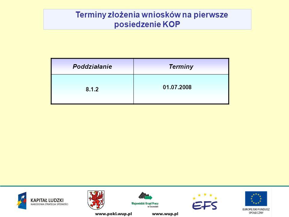 www.wup.plwww.pokl.wup.pl Terminy złożenia wniosków na pierwsze posiedzenie KOP PoddziałanieTerminy 8.1.2 01.07.2008