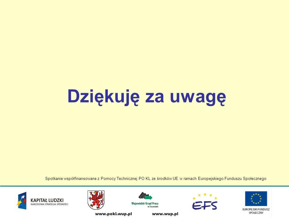 www.wup.plwww.pokl.wup.pl Dziękuję za uwagę Spotkanie współfinansowane z Pomocy Technicznej PO KL ze środków UE w ramach Europejskiego Funduszu Społecznego