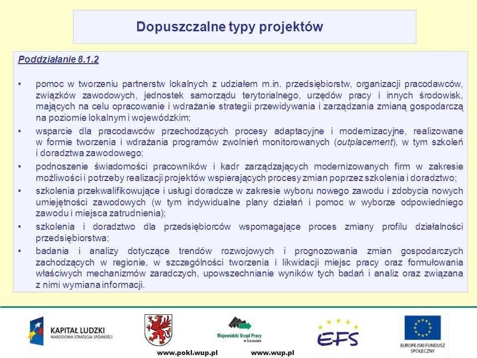www.wup.plwww.pokl.wup.pl Dopuszczalne typy projektów Poddziałanie 8.1.2 pomoc w tworzeniu partnerstw lokalnych z udziałem m.in.