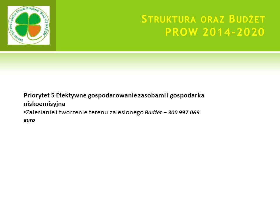 S TRUKTURA ORAZ B UDŻET PROW 2014-2020 Priorytet 5 Efektywne gospodarowanie zasobami i gospodarka niskoemisyjna Zalesianie i tworzenie terenu zalesionego Budżet – 300 997 069 euro