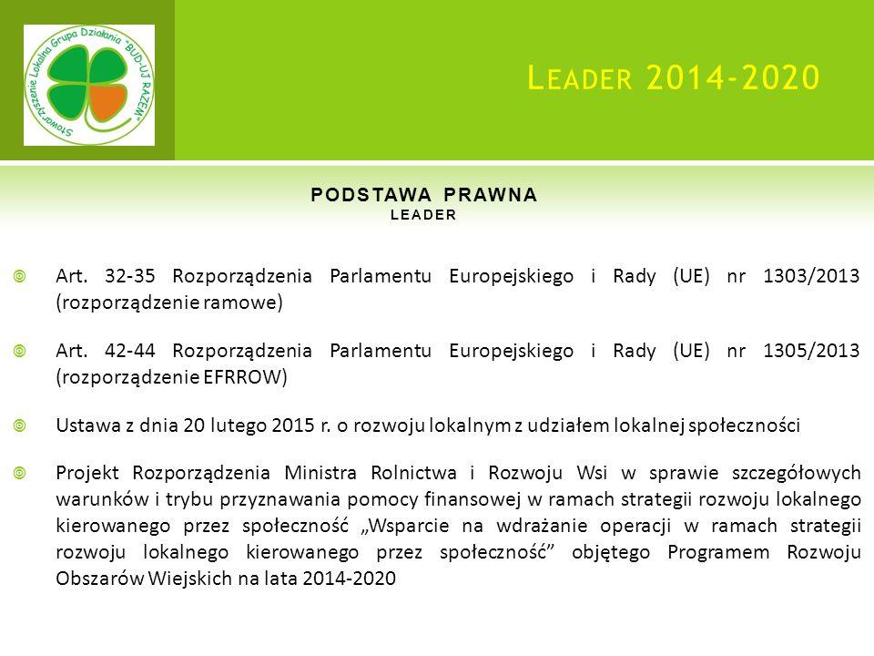 L EADER 2014-2020 PODSTAWA PRAWNA LEADER  Art.