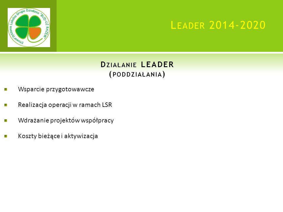 L EADER 2014-2020 D ZIAŁANIE LEADER ( PODDZIAŁANIA ) Wsparcie przygotowawcze Realizacja operacji w ramach LSR Wdrażanie projektów współpracy Koszty bieżące i aktywizacja