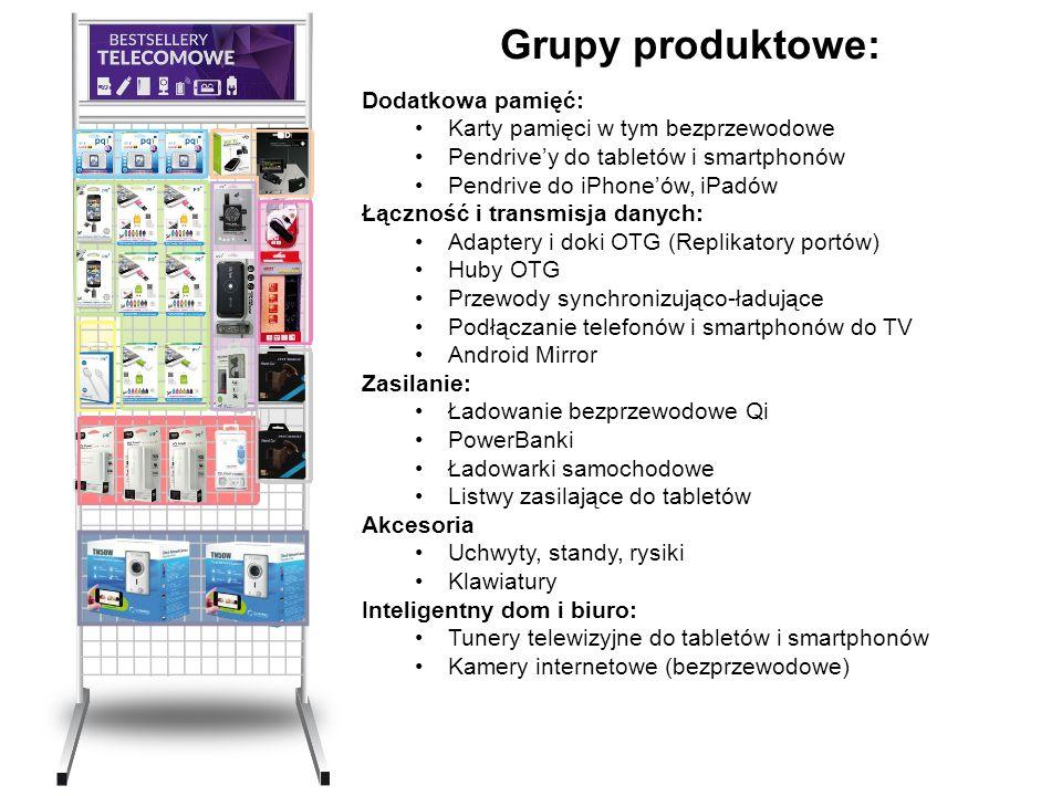 Grupy produktowe: Dodatkowa pamięć: Karty pamięci w tym bezprzewodowe Pendrive'y do tabletów i smartphonów Pendrive do iPhone'ów, iPadów Łączność i tr