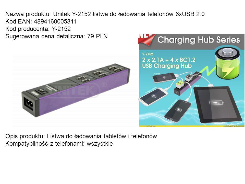 Nazwa produktu: Unitek Y-2152 listwa do ładowania telefonów 6xUSB 2.0 Kod EAN: 4894160005311 Kod producenta: Y-2152 Sugerowana cena detaliczna: 79 PLN
