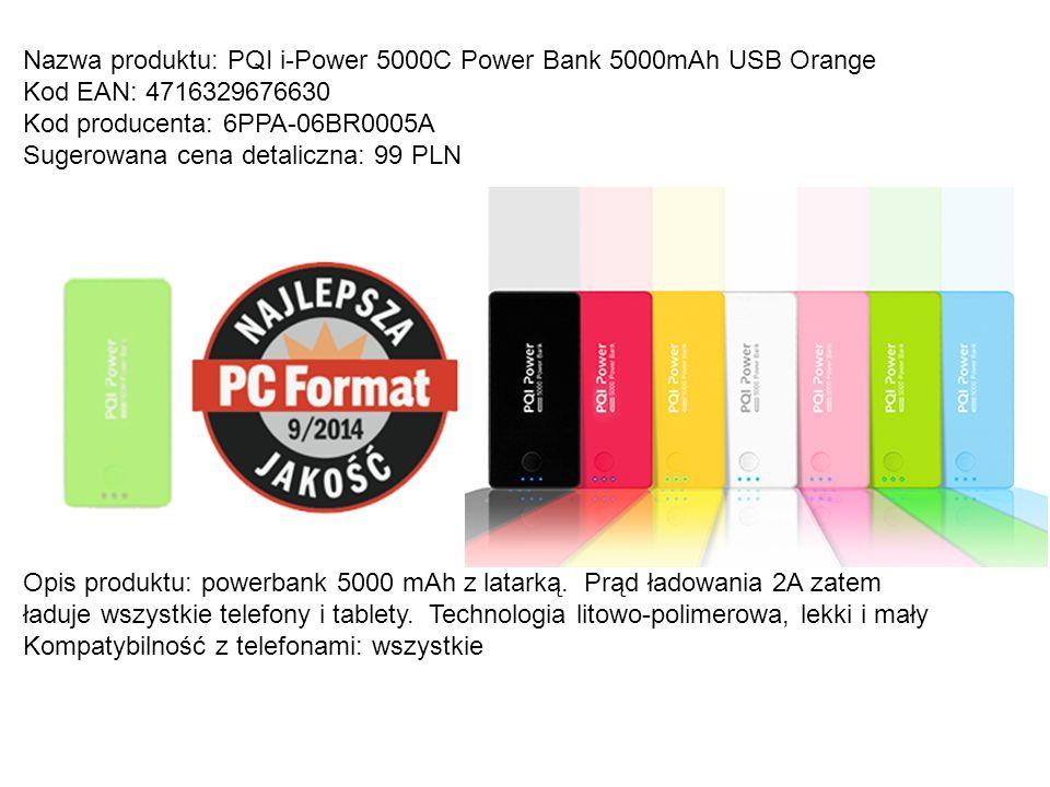 Nazwa produktu: PQI iPower 12000e 2,5A Kod EAN: 4716329677316 Kod producenta: 6PPP-10FR0001A Sugerowana cena detaliczna: 189 PLN Opis produktu: Powerbank o pojemnosci 12000 mAh.