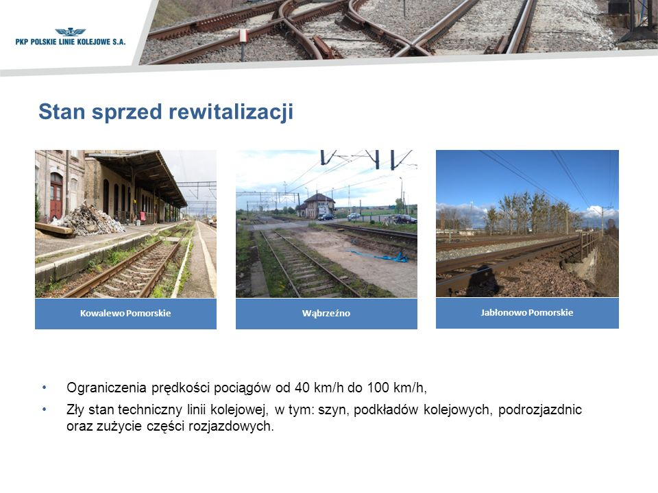 Stan sprzed rewitalizacji Ograniczenia prędkości pociągów od 40 km/h do 100 km/h, Zły stan techniczny linii kolejowej, w tym: szyn, podkładów kolejowych, podrozjazdnic oraz zużycie części rozjazdowych.