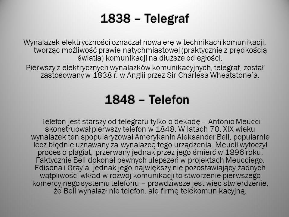 1838 – Telegraf Wynalazek elektryczności oznaczał nowa erę w technikach komunikacji, tworząc możliwość prawie natychmiastowej (praktycznie z prędkości