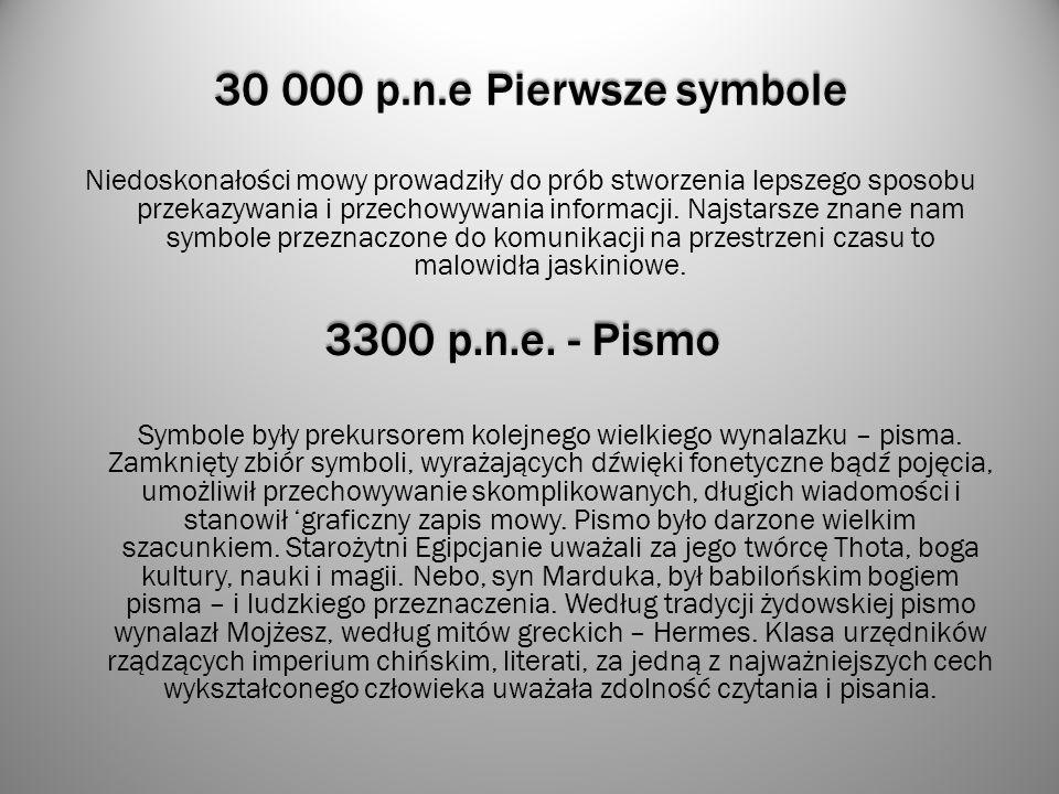 30 000 p.n.e Pierwsze symbole Niedoskonałości mowy prowadziły do prób stworzenia lepszego sposobu przekazywania i przechowywania informacji. Najstarsz