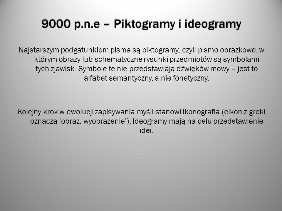 9000 p.n.e – Piktogramy i ideogramy Najstarszym podgatunkiem pisma są piktogramy, czyli pismo obrazkowe, w którym obrazy lub schematyczne rysunki prze