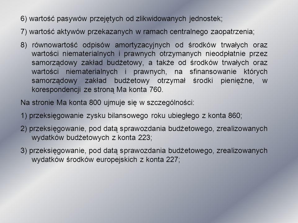 6) wartość pasywów przejętych od zlikwidowanych jednostek; 7) wartość aktywów przekazanych w ramach centralnego zaopatrzenia; 8) równowartość odpisów