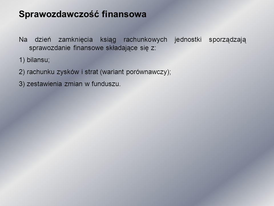 Sprawozdawczość finansowa Na dzień zamknięcia ksiąg rachunkowych jednostki sporządzają sprawozdanie finansowe składające się z: 1) bilansu; 2) rachunk