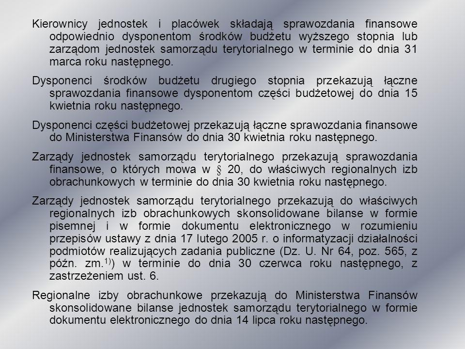 Kierownicy jednostek i placówek składają sprawozdania finansowe odpowiednio dysponentom środków budżetu wyższego stopnia lub zarządom jednostek samorz