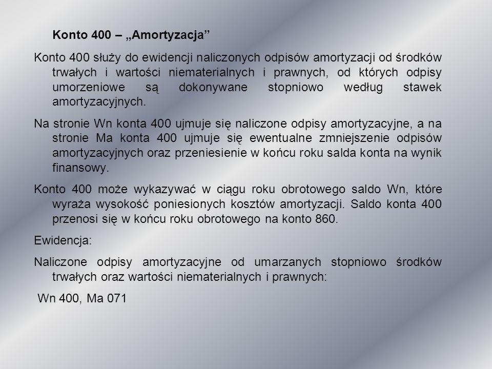 """Konto 400 – """"Amortyzacja"""" Konto 400 służy do ewidencji naliczonych odpisów amortyzacji od środków trwałych i wartości niematerialnych i prawnych, od k"""