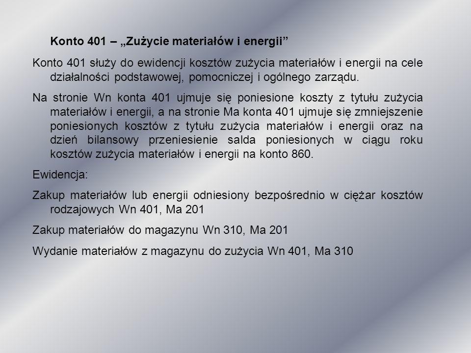 """Konto 401 – """"Zużycie materiałów i energii"""" Konto 401 służy do ewidencji kosztów zużycia materiałów i energii na cele działalności podstawowej, pomocni"""