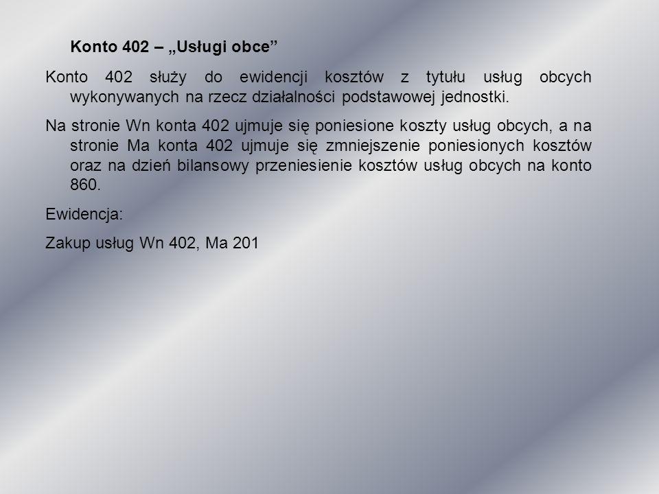 """Konto 402 – """"Usługi obce"""" Konto 402 służy do ewidencji kosztów z tytułu usług obcych wykonywanych na rzecz działalności podstawowej jednostki. Na stro"""