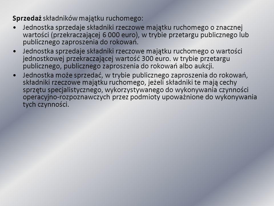 Sprzedaż składników majątku ruchomego: Jednostka sprzedaje składniki rzeczowe majątku ruchomego o znacznej wartości (przekraczającej 6 000 euro), w tr