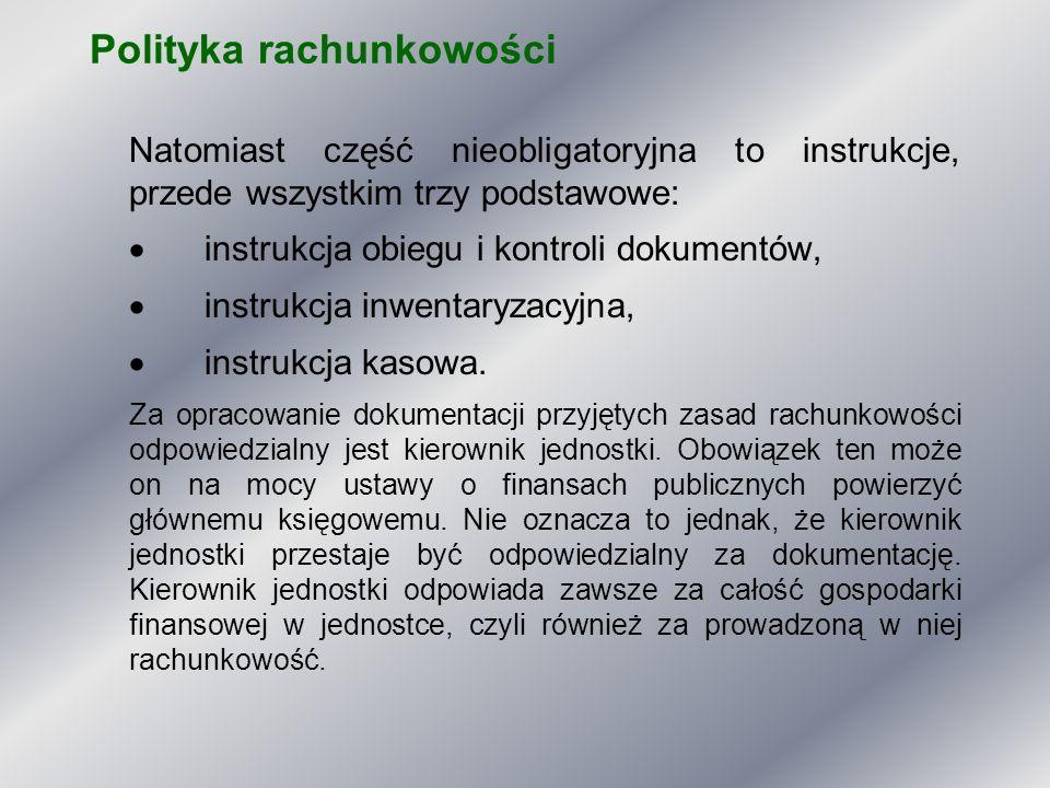 Polityka rachunkowości Natomiast część nieobligatoryjna to instrukcje, przede wszystkim trzy podstawowe:  instrukcja obiegu i kontroli dokumentów, 