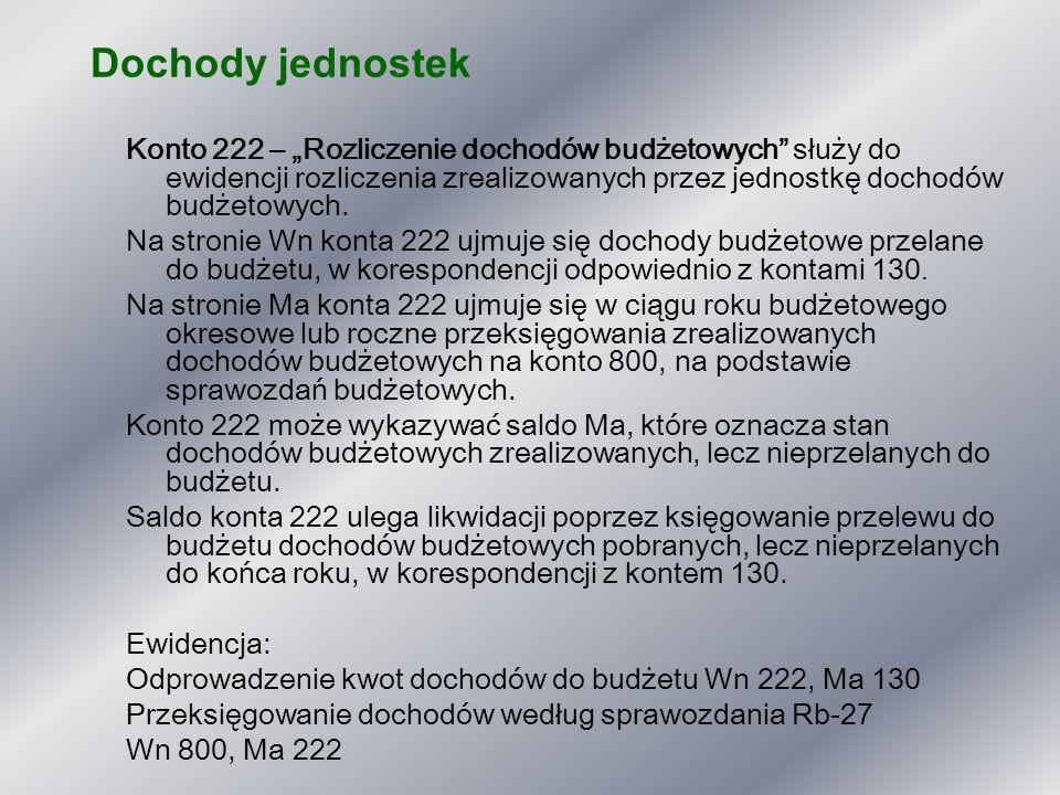 """Dochody jednostek Konto 222 – """"Rozliczenie dochodów budżetowych"""" służy do ewidencji rozliczenia zrealizowanych przez jednostkę dochodów budżetowych. N"""