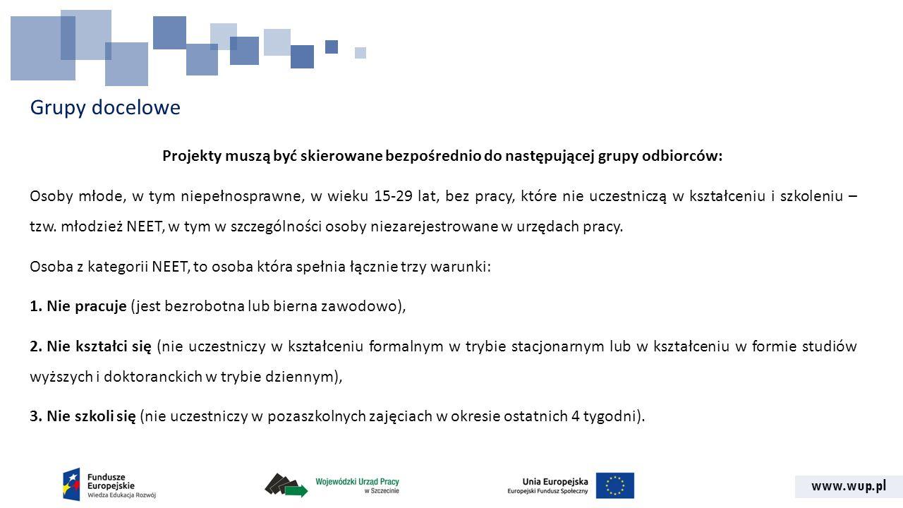 www.wup.pl Grupy docelowe Projekty muszą być skierowane bezpośrednio do następującej grupy odbiorców: Osoby młode, w tym niepełnosprawne, w wieku 15-2