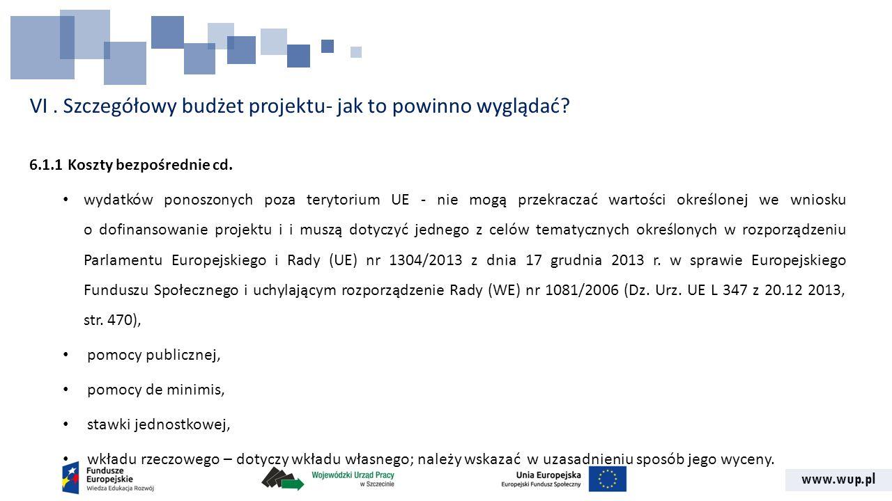www.wup.pl VI. Szczegółowy budżet projektu- jak to powinno wyglądać? 6.1.1 Koszty bezpośrednie cd. wydatków ponoszonych poza terytorium UE - nie mogą