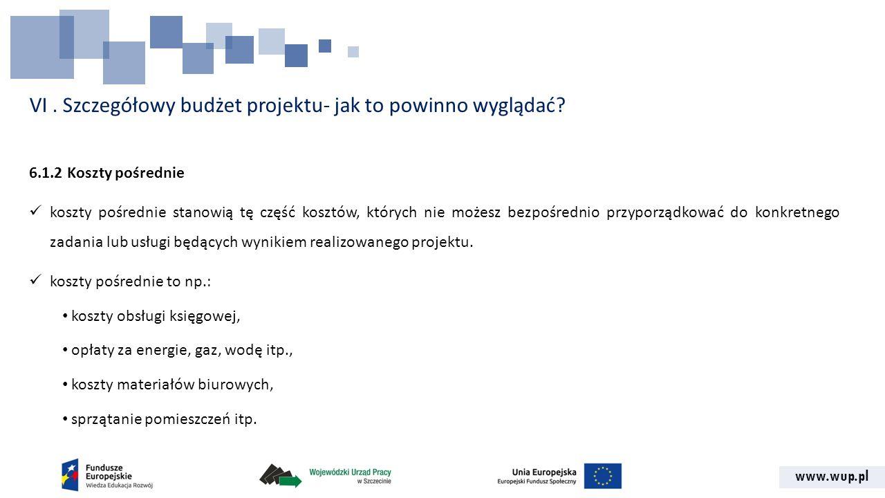 www.wup.pl VI. Szczegółowy budżet projektu- jak to powinno wyglądać? 6.1.2 Koszty pośrednie koszty pośrednie stanowią tę część kosztów, których nie mo