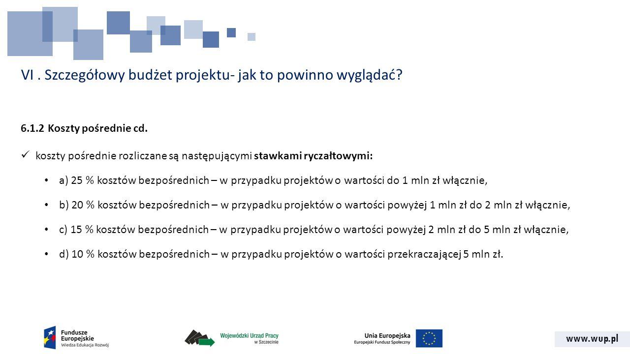www.wup.pl VI. Szczegółowy budżet projektu- jak to powinno wyglądać? 6.1.2 Koszty pośrednie cd. koszty pośrednie rozliczane są następującymi stawkami
