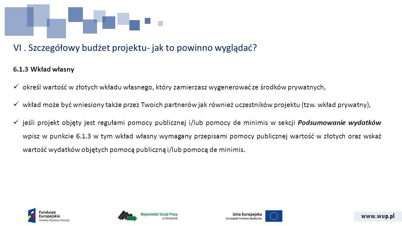 www.wup.pl VI. Szczegółowy budżet projektu- jak to powinno wyglądać? 6.1.3 Wkład własny określ wartość w złotych wkładu własnego, który zamierzasz wyg