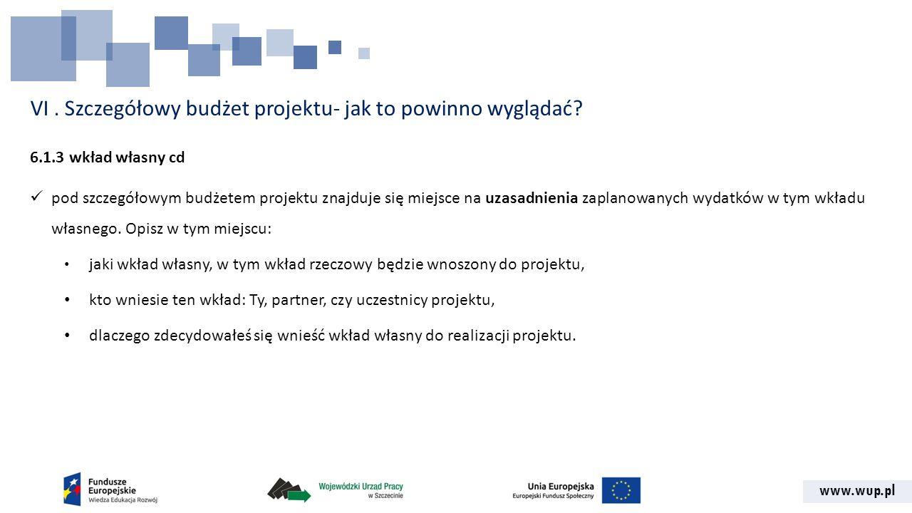 www.wup.pl VI. Szczegółowy budżet projektu- jak to powinno wyglądać? 6.1.3 wkład własny cd pod szczegółowym budżetem projektu znajduje się miejsce na