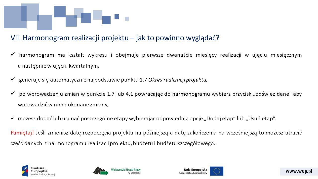www.wup.pl VII. Harmonogram realizacji projektu – jak to powinno wyglądać? harmonogram ma kształt wykresu i obejmuje pierwsze dwanaście miesięcy reali