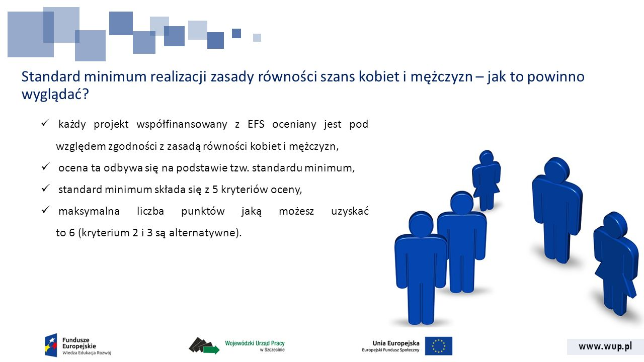 www.wup.pl Standard minimum realizacji zasady równości szans kobiet i mężczyzn – jak to powinno wyglądać? każdy projekt współfinansowany z EFS ocenian