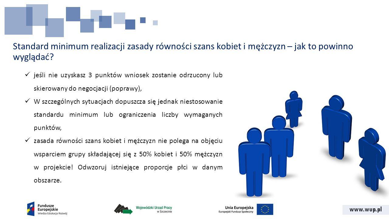 www.wup.pl Standard minimum realizacji zasady równości szans kobiet i mężczyzn – jak to powinno wyglądać? jeśli nie uzyskasz 3 punktów wniosek zostani