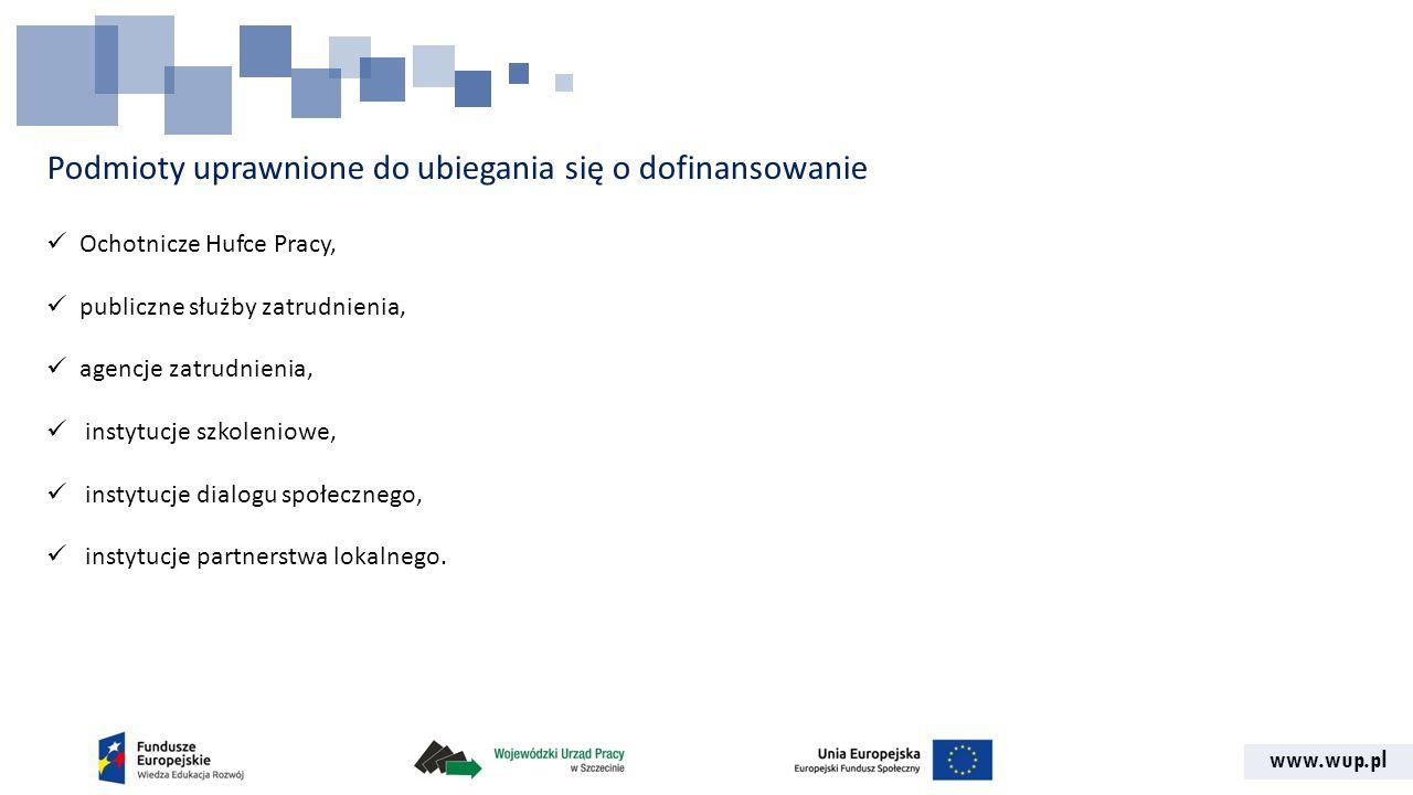 www.wup.pl Podmioty uprawnione do ubiegania się o dofinansowanie Ochotnicze Hufce Pracy, publiczne służby zatrudnienia, agencje zatrudnienia, instytuc