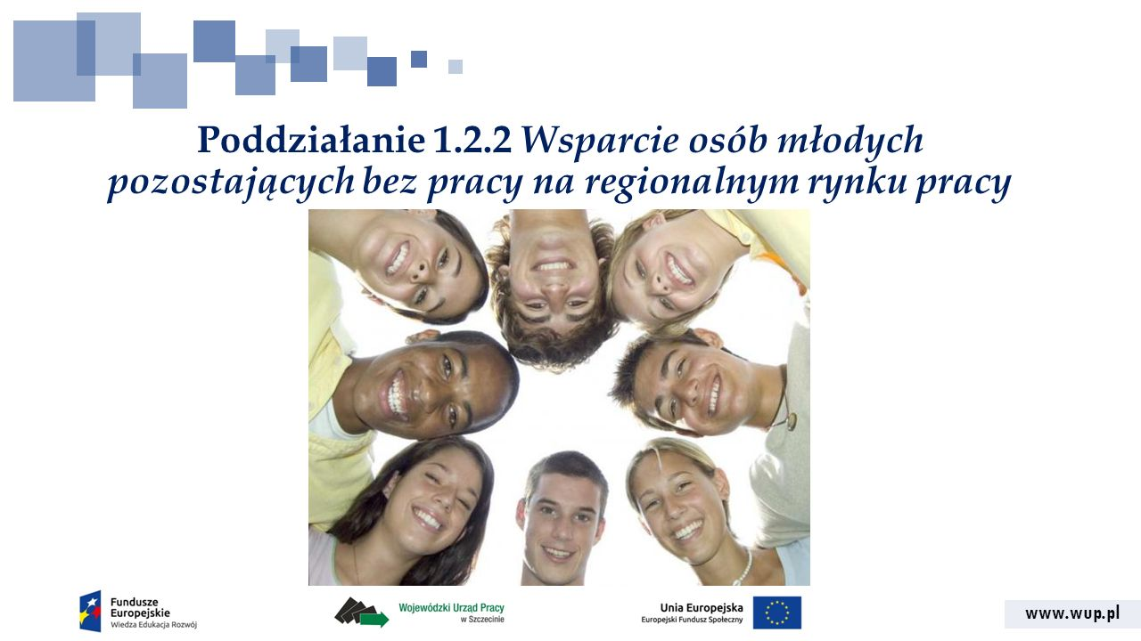 www.wup.pl Poddziałanie 1.2.2 Wsparcie osób młodych pozostających bez pracy na regionalnym rynku pracy