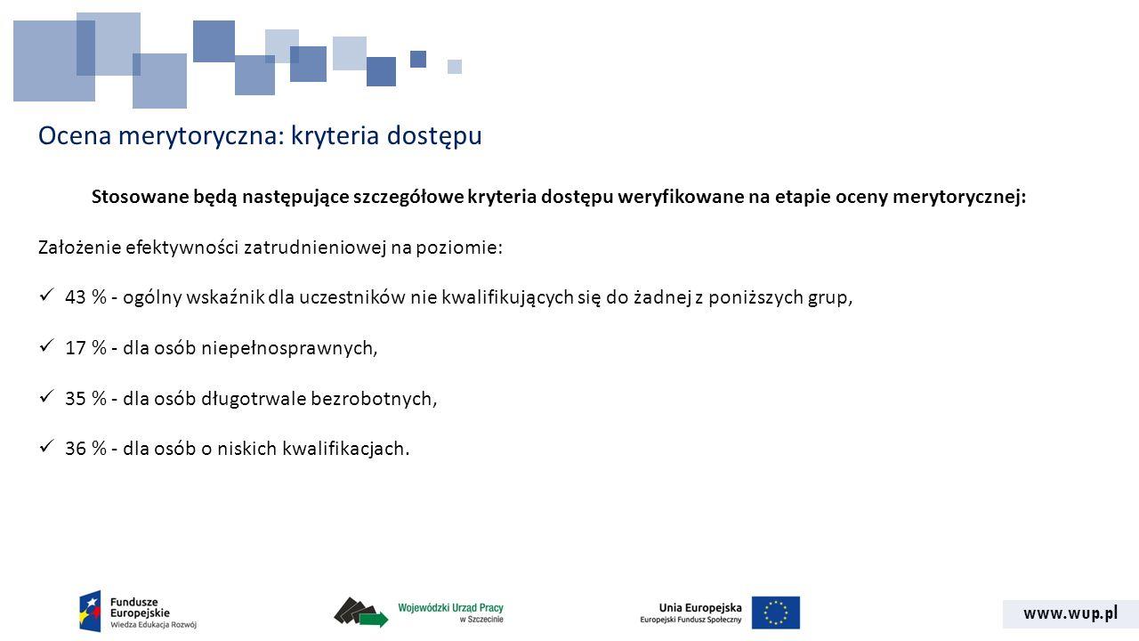 www.wup.pl Ocena merytoryczna: kryteria dostępu Stosowane będą następujące szczegółowe kryteria dostępu weryfikowane na etapie oceny merytorycznej: Za